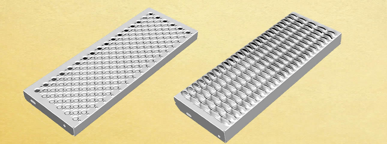 A diamond hole safety grating and a round hole safety grating.