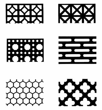 Six different hole types of the decorative perforated sheet.