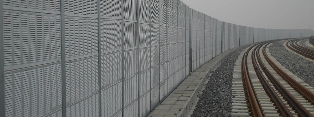 Round hole noise barrier is installed on the side of railway and the louver hole noise barrier is installed on the expressway.