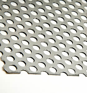 A piece of aluminum corrugated perforated sheet.