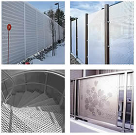 Noise barrier, protective perforated sheet, anti-slip perforated sheet and decorative perforated shet.