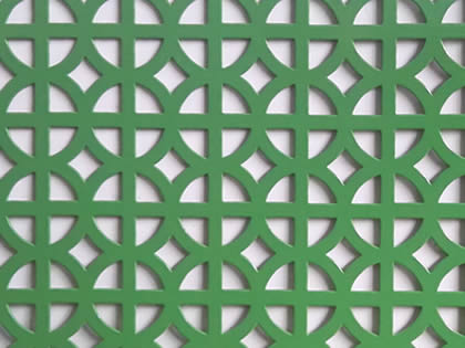 There is one piece of perforated sheet that painted green.