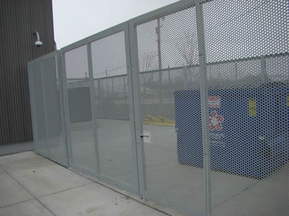 Six piece of protective perforated sheet gate is install on the wall of a industry.
