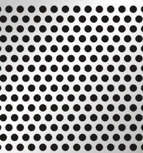A piece of stainless steel perforated sheet.